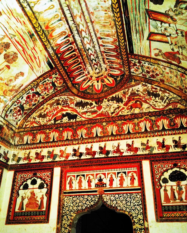 preserve, fresco, rani mahal, orchha fort, orchha