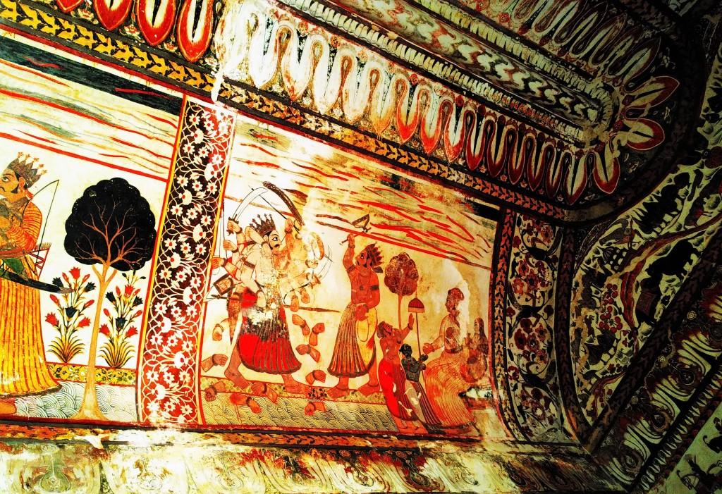 ceiling, wall, fresco, rani mahal, orchha fort, orchha