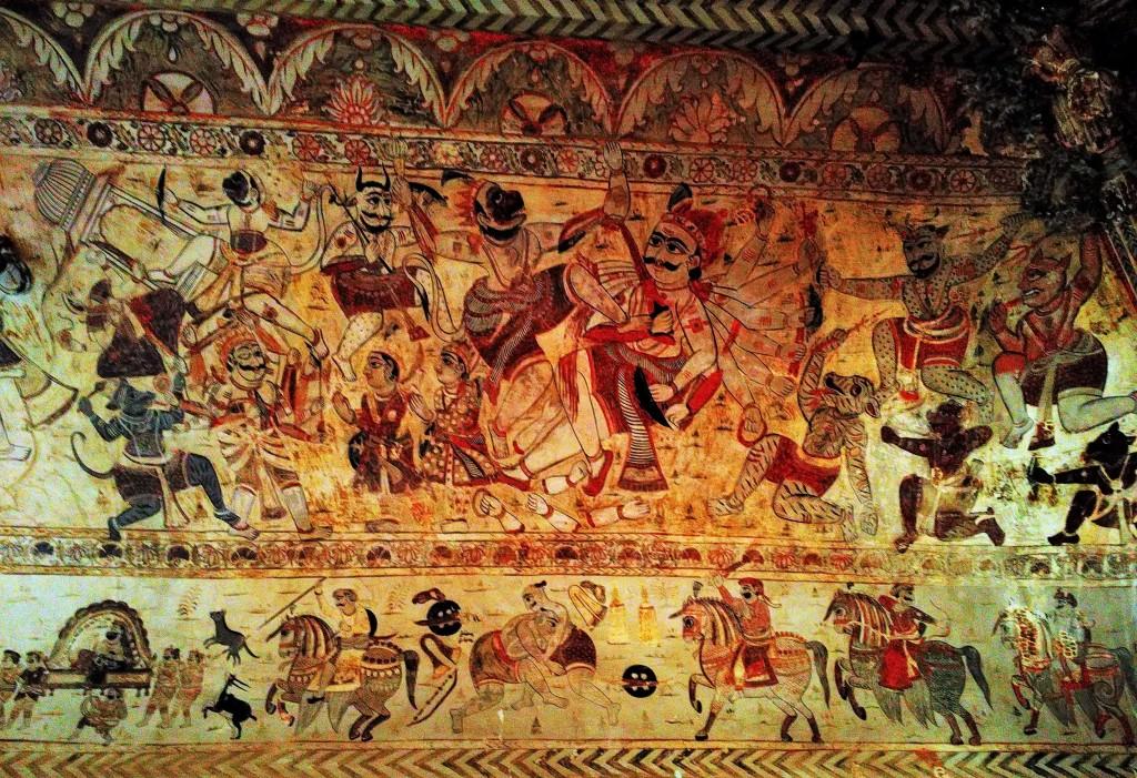 fresco, laxmi narayan mandir, orchha, madhya pradesh
