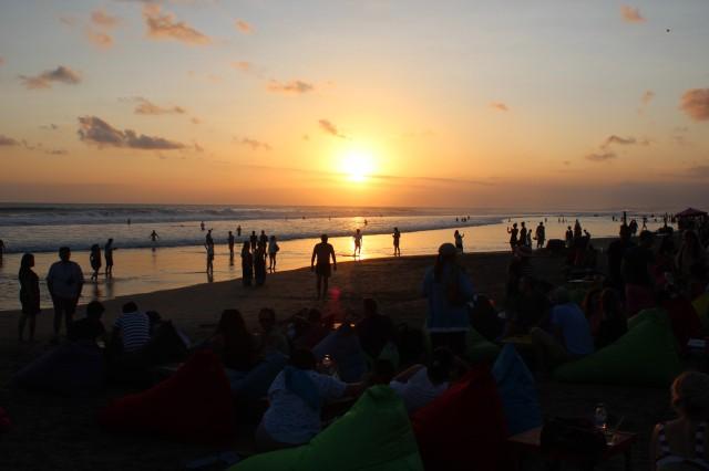 sunset, double six beach