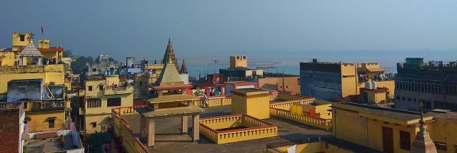 River Ganges, hotel rooftop, hotel banaras haveli, varanasi, uttar pradesh, india